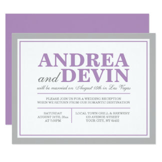 Gray & Purple Wedding Reception ONLY Invitations