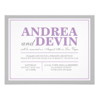 Gray & Purple Wedding Reception ONLY Invitations