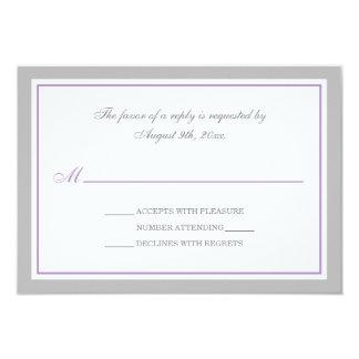 Gray & Purple Wedding Reception RSVP Cards