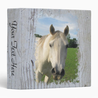 Gray Quarter Horse on Whitewashed Board Blank Binder