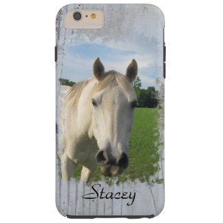 Gray Quarter Horse on Whitewashed Board Blank Tough iPhone 6 Plus Case