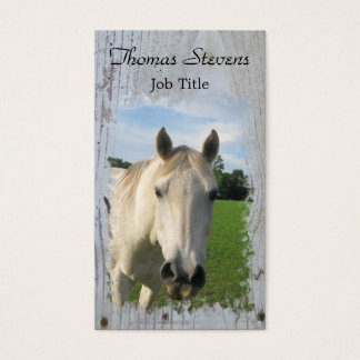Gray Quarter Horse on Whitewashed Board Business Card