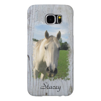 Gray Quarter Horse on Whitewashed Board Samsung Galaxy S6 Cases