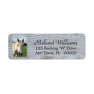Gray Quarter Horse on Whitewashed Board Label