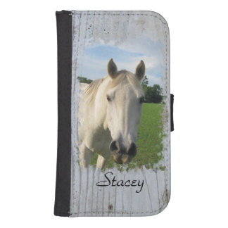 Gray Quarter Horse on Whitewashed Board Phone Wallet
