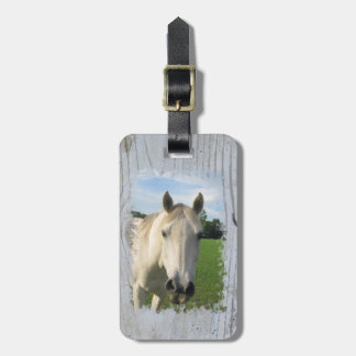 Gray Quarter Horse on Whitewashed Board Tag For Luggage
