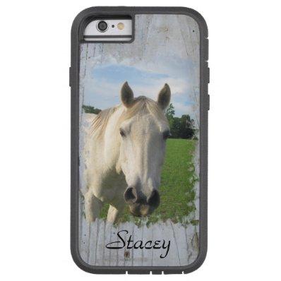 Gray Quarter Horse on Whitewashed Board Tough Xtreme iPhone 6 Case