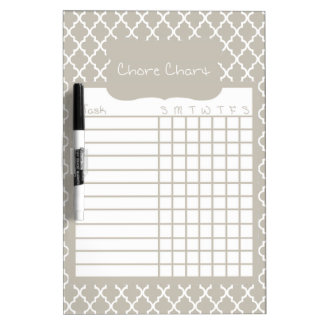 Gray Quatrefoil Chore Chart Dry-Erase Boards