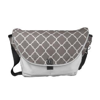 Gray Quatrefoil Clover Messenger Bag