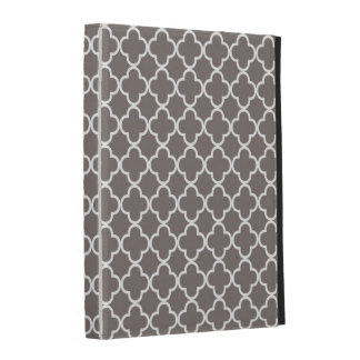 Gray Quatrefoil Clover Pattern iPad Case
