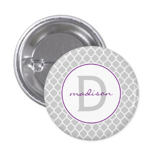 Gray Quatrefoil Monogram Button