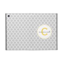 Gray Quatrefoil monogram Case For iPad Mini