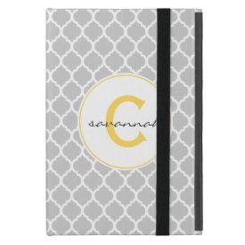 Gray Quatrefoil monogram Cover For iPad Mini