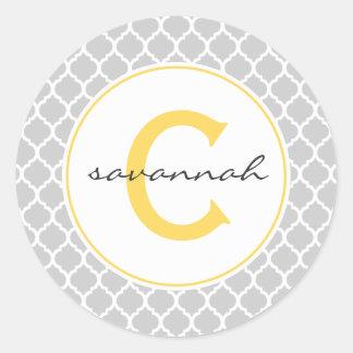 Gray Quatrefoil Monogram Classic Round Sticker