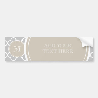 Gray Quatrefoil Pattern, Beige Monogram Bumper Sticker