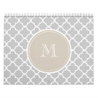 Gray Quatrefoil Pattern, Beige Monogram Wall Calendar