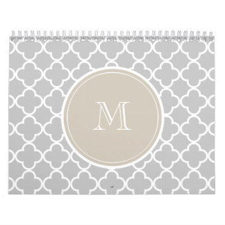 Gray Quatrefoil Pattern, Beige Monogram Calendar