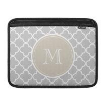 Gray Quatrefoil Pattern, Beige Monogram MacBook Air Sleeve