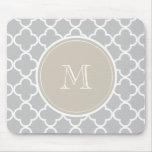 Gray Quatrefoil Pattern, Beige Monogram Mouse Pad