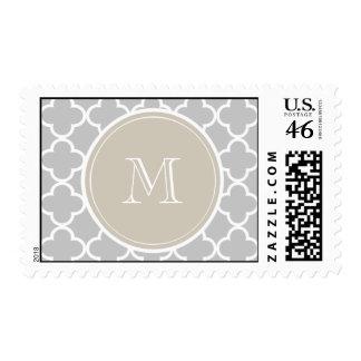 Gray Quatrefoil Pattern Beige Monogram Stamps