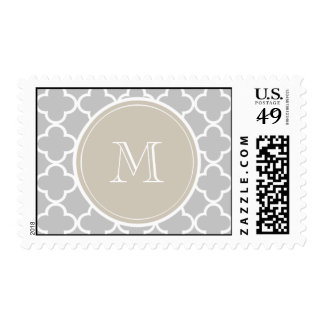 Gray Quatrefoil Pattern, Beige Monogram Postage