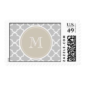 Gray Quatrefoil Pattern, Beige Monogram Stamps