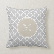 Gray Quatrefoil Pattern, Beige Monogram Throw Pillow