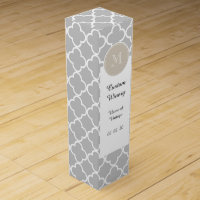 Gray Quatrefoil Pattern, Beige Monogram Wine Box