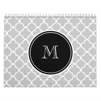 Gray Quatrefoil Pattern, Black Monogram Wall Calendar