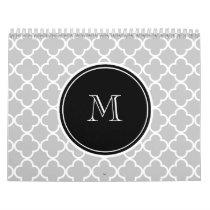 Gray Quatrefoil Pattern, Black Monogram Calendar
