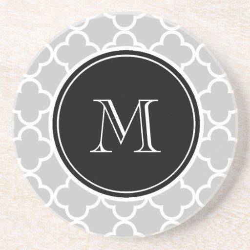 Gray Quatrefoil Pattern, Black Monogram Drink Coasters