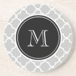 """Gray Quatrefoil Pattern, Black Monogram Drink Coaster<br><div class=""""desc"""">Trendy, stylish, gray and white quatrefoil pattern you can personalize with a white monogram initial in a modern font, on a black circle label, banner, frame with white circular lines border. GraphicsByMimi&#169; A trendy pattern for her. Use the template field to add your monogram initial or letter or select """"customize...</div>"""