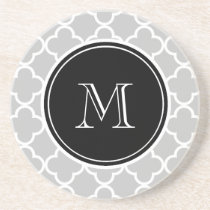 Gray Quatrefoil Pattern, Black Monogram Drink Coaster
