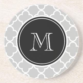 Gray Quatrefoil Pattern, Black Monogram Drink Coaster
