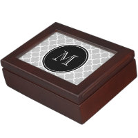 Gray Quatrefoil Pattern, Black Monogram Keepsake Box
