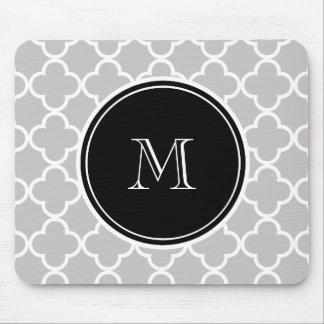 Gray Quatrefoil Pattern, Black Monogram Mouse Pad