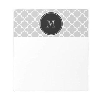 Gray Quatrefoil Pattern Black Monogram Memo Note Pad