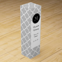 Gray Quatrefoil Pattern, Black Monogram Wine Gift Box