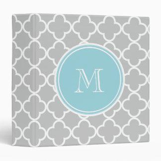 Gray Quatrefoil Pattern, Blue Monogram Binder
