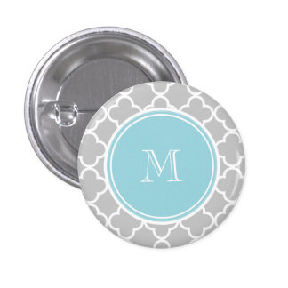 Gray Quatrefoil Pattern, Blue Monogram Button