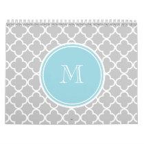 Gray Quatrefoil Pattern, Blue Monogram Calendar