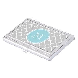 Gray Quatrefoil Pattern, Blue Monogram Case For Business Cards