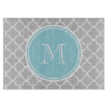 Gray Quatrefoil Pattern, Blue Monogram Cutting Boards