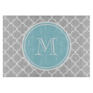 Gray Quatrefoil Pattern, Blue Monogram Cutting Board