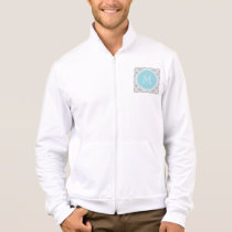 Gray Quatrefoil Pattern, Blue Monogram Jacket
