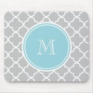 Gray Quatrefoil Pattern, Blue Monogram Mouse Pad