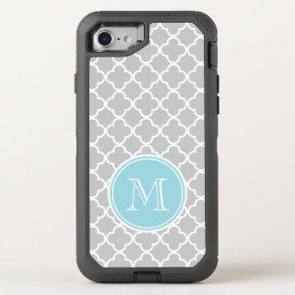 Gray Quatrefoil Pattern, Blue Monogram OtterBox Defender iPhone 8/7 Case