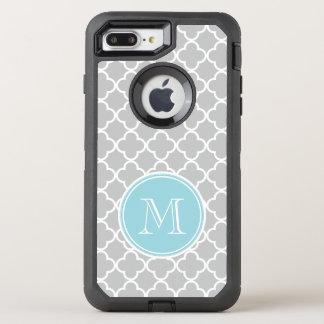 Gray Quatrefoil Pattern, Blue Monogram OtterBox Defender iPhone 8 Plus/7 Plus Case