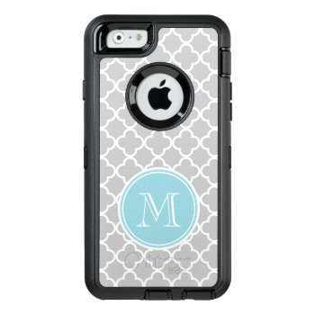 Gray Quatrefoil Pattern  Blue Monogram Otterbox Defender Iphone Case by GraphicsByMimi at Zazzle