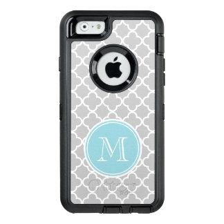 Gray Quatrefoil Pattern, Blue Monogram OtterBox iPhone 6/6s Case